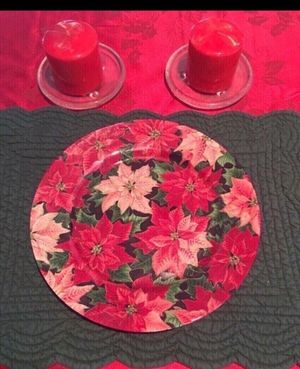 2 new candles with bases and poinsettia serving dish for Sale in Smyrna, TN