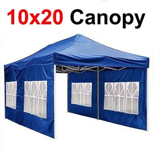 $210 New In Box Heavy Duty 10x20ft Canopy Pop Up Tent With Side Walls Instant Shade Carry Bag Rope Stake, Blue color for Sale in East Los Angeles, CA