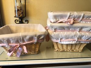 Pottery barn Pink nursery baskets with liners qty4 for Sale in Portland, OR