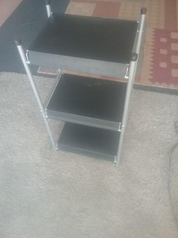 Multi-tier metal shelf. Small 27 tall x 12 wide. Cute multi purpose