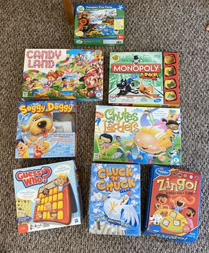 7) games (1) puzzle -ages 3-8 -Buy all 7 for $20 or B.O. individually -barely used for Sale in Tyngsborough, MA