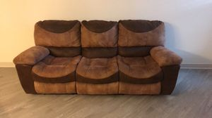 Brown suede 3 seat recliner sofa for Sale in Baltimore, MD
