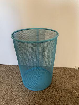 Sky blue mesh metal wastebasket for Sale in Brea, CA