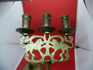 Vintage BRASS CANDELABRA, featuring LIONS! 2 Arms , 3 Candles Candle Holder, Rustic French Apartment Mid Century Home decor for Sale in Chicago, IL