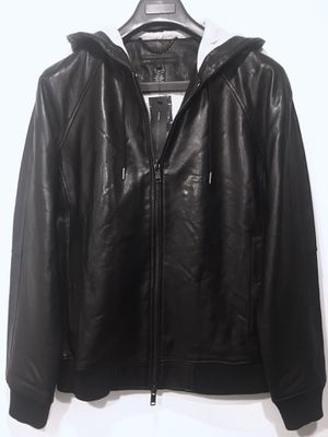 Marc Jacobs men's black lamb leather hooded jacket coat for Sale in New York, NY