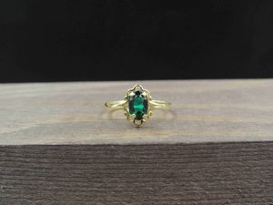 Size 3 10K Gold Dainty Green Glass Gem Band Ring Vintage Estate Wedding Engagement Anniversary Gift Idea Beautiful Elegant Unique Cute Cool for Sale in Lynnwood, WA