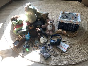 Assorted books and bibles , basket ,stuffed animals , origami puzzles,2 South Park dolls for Sale in Eldersburg, MD