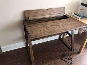 Wood desk with flip open storage and built in outlets for Sale in Washington, DC