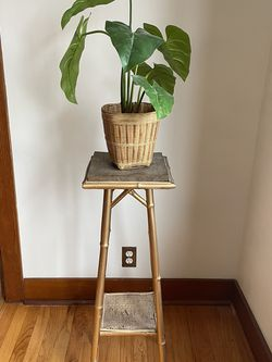 Gold Bamboo Plant Stand + Fake Plant for Sale in Littleton,  CO