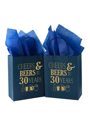 Medium Size Gift Bags - 25 Pack Cheers & Beers to 30 Years Navy and Gold Paper Bags for Sale in Lynwood, CA