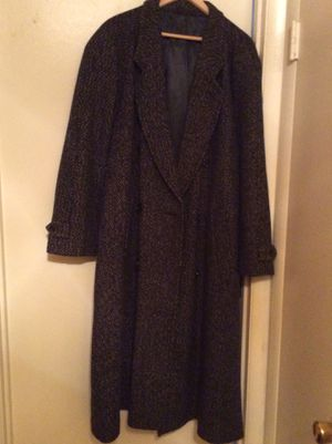 Men black long coat with white specks. Size large 42/44, slightly worn. for Sale in Forest Heights, MD