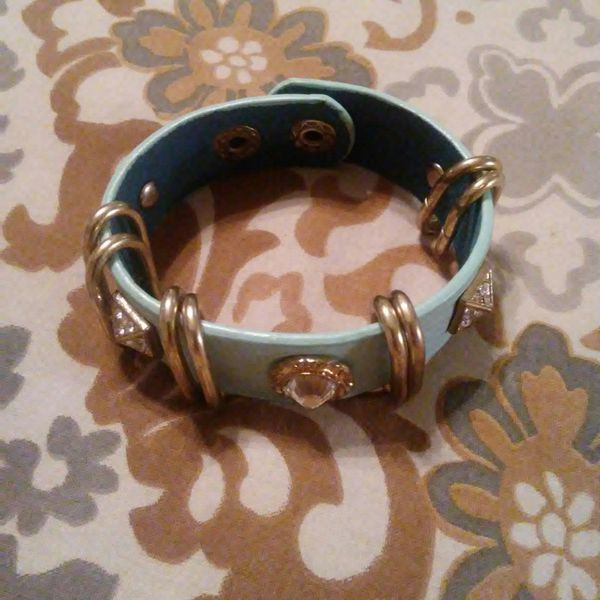 Leather jeweled bracelet
