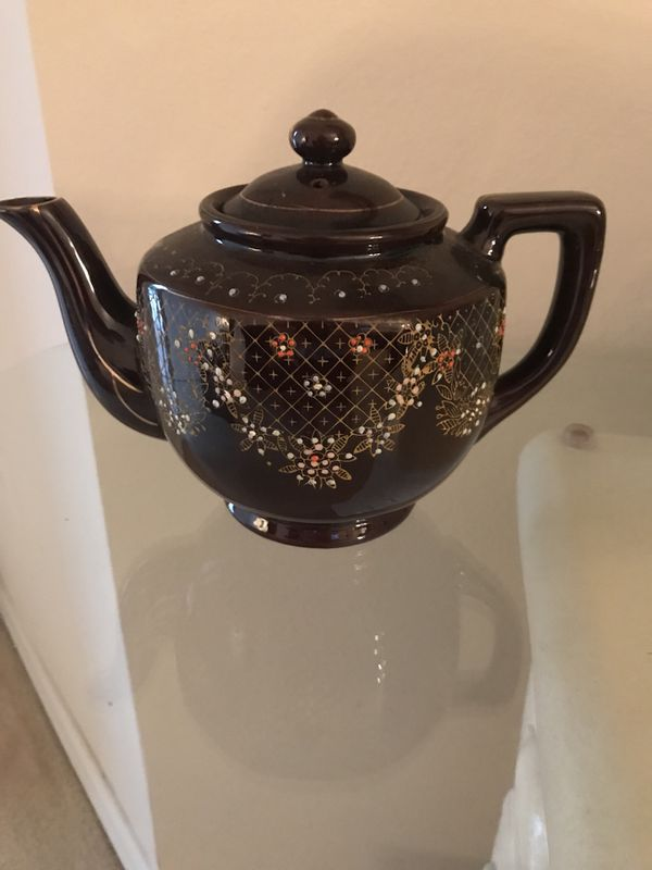 1940s Japanese Redware Ceramic Teapot With Moriage Floral Embellishment