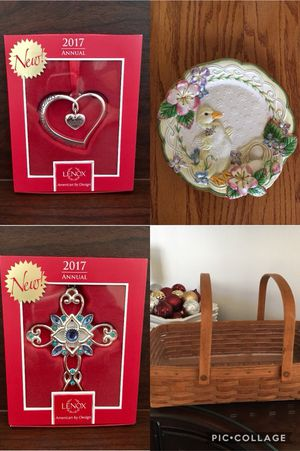Lenox Ornaments, Fitz and Floyd Beautiful dish and Longaberger basket Each item new or perfect condition $10 each for Sale in Weston, FL