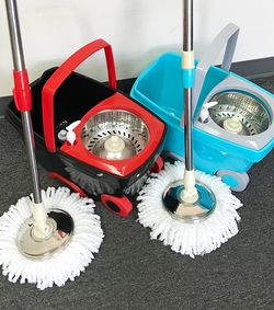 $25 Each New In Box Spin Mop Bucket Floor Cleaning System With Wheels Include 2 Microfiber Replacement Head for Sale in Whittier,  CA