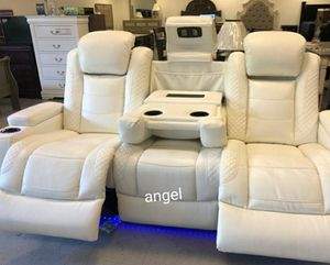 🐞SAMEDAY DELIVERY 🐞EXCLUSIVE] Party Time White LED Power Reclining Living Room Set with Adjustable Headrest for Sale in Columbia, MD