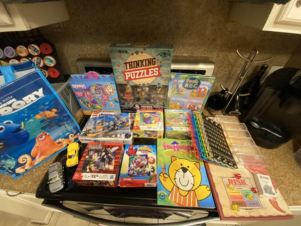 Kids toys, games, puzzles, coloring books, legos and board game