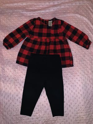 12 Month Carter's Girls Buffalo Plaid Outfit ❤️🖤 for Sale in Colorado Springs, CO