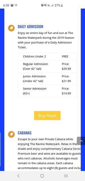 Ravine waterpark tickets for Sale in Santa Maria, CA