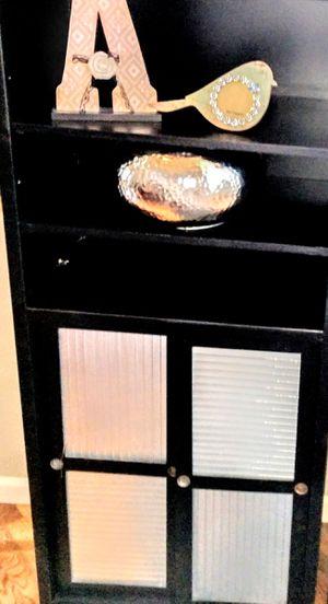 "Industrial Black Wooden 6-Shelf Bookshelf w/Silver Glass Sliding Doors 26"" x 26"" x 62"" H for Sale in Arvada, CO"