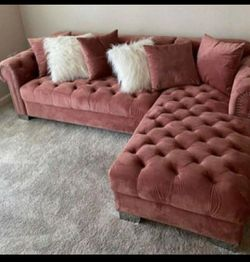 New Royal Pink Velvet RAF Sectional Happy Homes⭐ In Stock 💗Couch & living room set & sofa🧿SRH for Sale in Houston,  TX