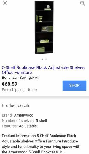 5 shelf bookshelves for Sale in Dallas, TX
