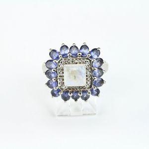 Sri Lankan Rainbow Moonstone w Iolite Ring Sqr 2.35 ct in Platinum Overlay Sterling Silver SZ 9 for Sale in Goodyear, AZ