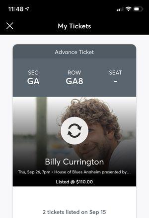 Billy Currington Tickets for Sale in Huntington Beach, CA