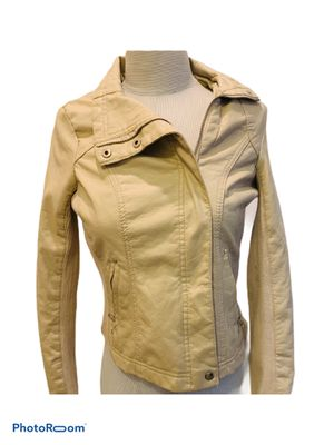 Suzy Shier Fauz Leather Jacket XS-S BEIGE HOT PINK CHIC SEXY FOR GOING OUT! for Sale in Tustin, CA