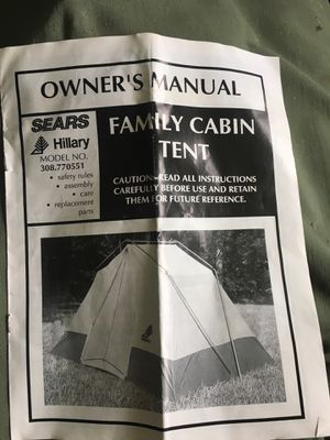 Sears Hillary family camping tent $50 all stakes, canvas for Sale in Melbourne, FL
