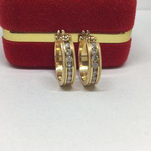 14k Yellow Gold Hoop Diamond Earrings for Sale in Pomona, CA