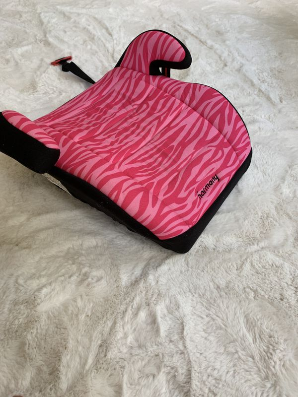 Girls Car Booster Seat Bright pink black backless