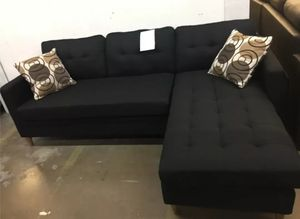 Brand New Black Linen Sectional Sofa Couch + 2 Accent Pillows for Sale in Silver Spring, MD