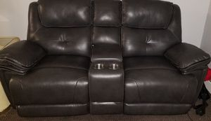 Grey Leather Loveseat for Sale in Buffalo, NY