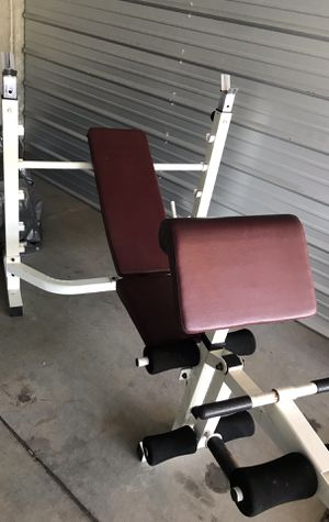 Olympic weight bench - Commercial Grade with weight tree and adjustable rack, preacher curl and leg station for Sale in Hayward, CA