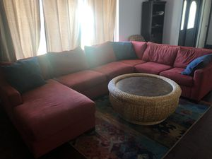 Sectional couch with wicker table and rug for Sale in Lake Worth, FL