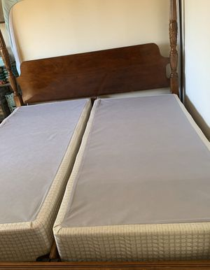 King size bed with mattress cherrywood color with matching dresser and foot stool was use only a few times for guest turning quest room into a office for Sale in Northfield, OH