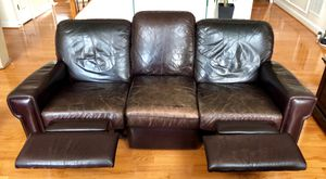 Recliner leather couch set/ all 3 pieces for Sale in Bristow, VA