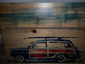 Beach car wood plank canvas picture for Sale in Ashburn, VA