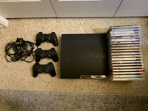 PS3 with controllers and 20 games for Sale in Kent, WA