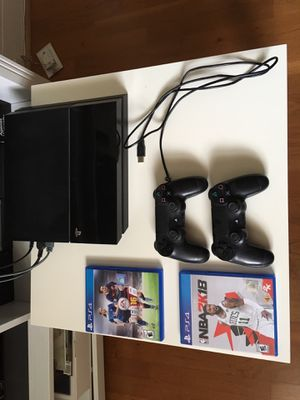 Standard PS4, two wireless controllers, all cables, two games for Sale in Atlanta, GA