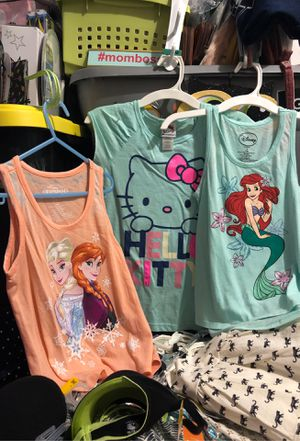 The little mermaid hello kitty and frozen girls shirts new 5 each for Sale in Tampa, FL