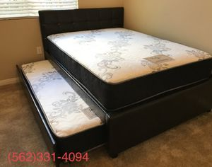 👉 Full_Twin Expresso or white Trundle beds with 2 mattresses included. for Sale in Fresno, CA