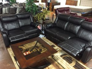 Leather reclining sofa and love seat for Sale in Chicago, IL