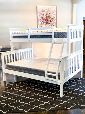 Twin over full Bunk bed plus Twin Plush Mattress (Free Delivery) for Sale in Austin, TX