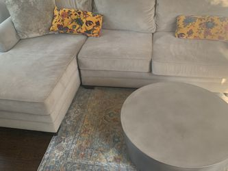 Sofa With Chaise - Gray Microsuede for Sale in Carlsbad,  CA