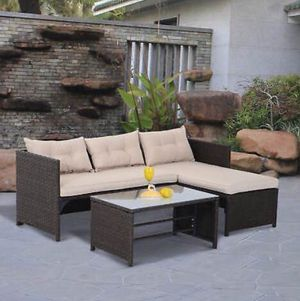 3PC Patio Rattan Wicker Sofa Set Cushined Couch Furniture Outdoor Garden for Sale in Henderson, NV