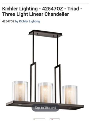 Kichler Lighting - 42547OZ - Triad - Three Light Linear Chandelier (opened box item, everything still in the box). We don't used it for Sale in Williamsburg, VA