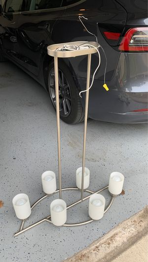 6 light chandelier with bulbs and down rod for Sale in Dallas, TX