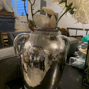Silver Vase With Flowers for Sale in Denver, CO